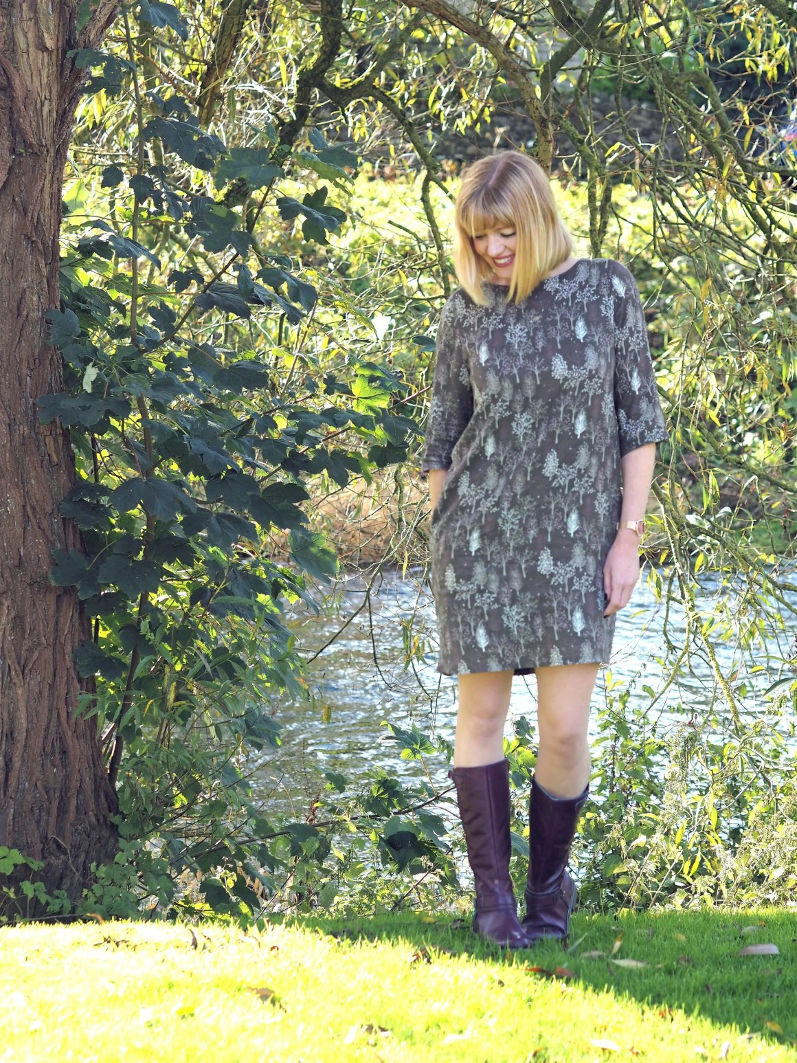 what lizzy loves purple knee high boots and khaki dress
