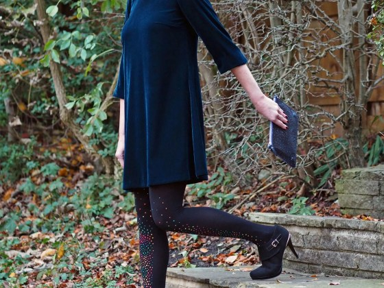 what Lizzy Loves teal velvet swing dress multi-coloured crystal tights