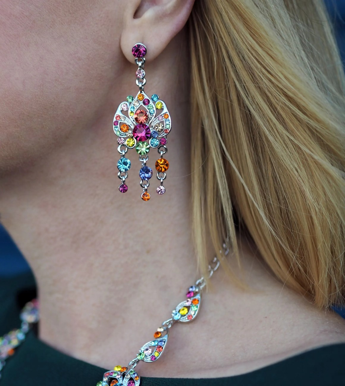 what lizzy loves rainbow Swarovski crystal statement earrings