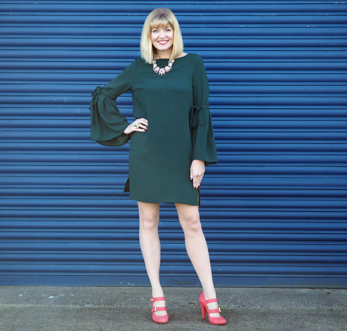 What Lizzy Loves easy party look green dress rainbow Swarovski crystal jewellery orange shoes