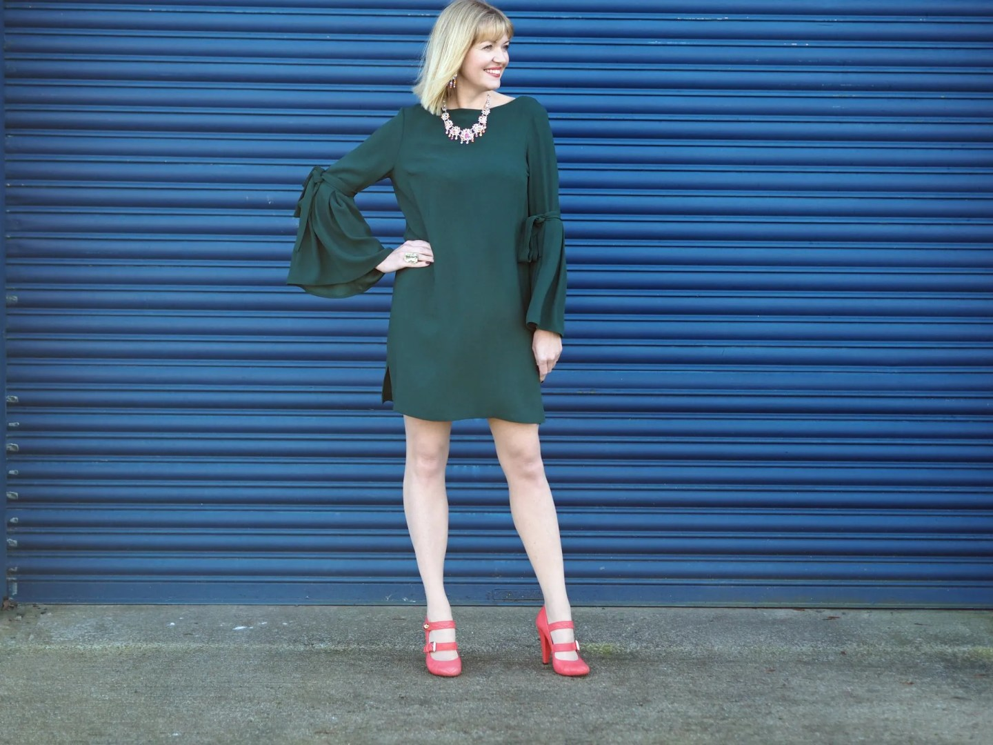 What Lizzy Loves easy party look green dress rainbow Swarovski crystal jewellery