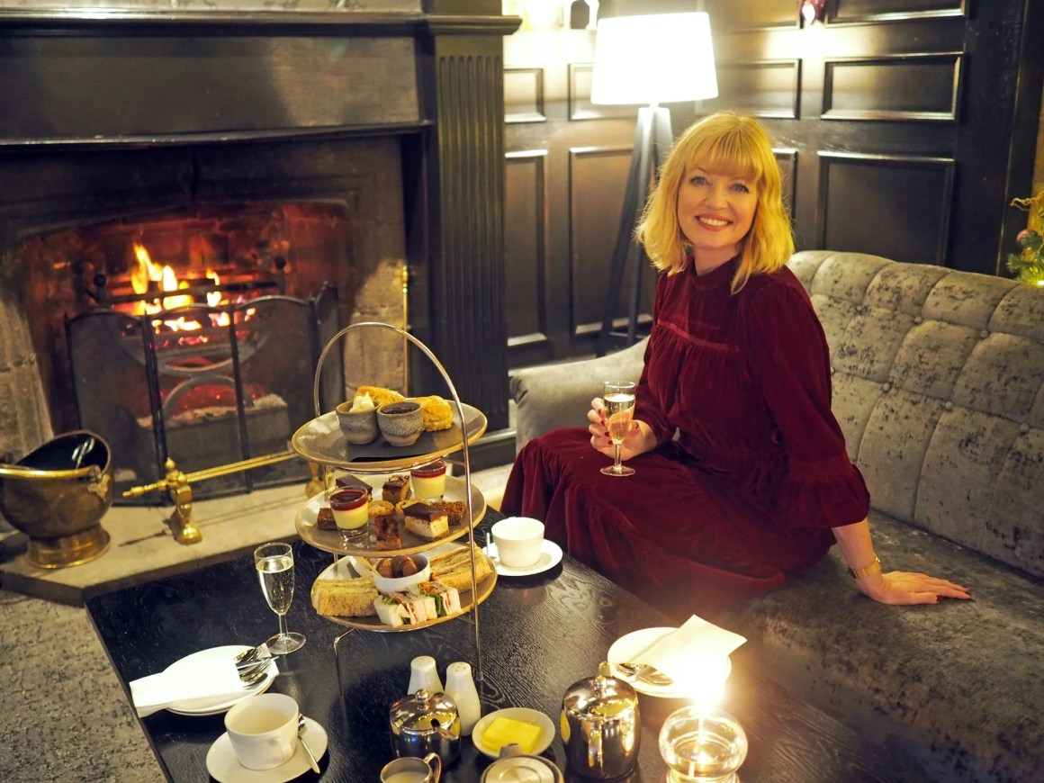 What Lizzy Loves Festive afternoon tea Stirk House marks and spencer burgundy velvet dress