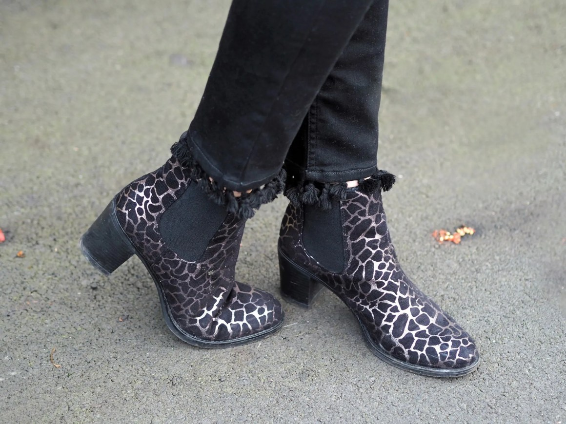 what lizzy loves denaelion embrpidered jumper black pom pom jeans metallic animal print boots
