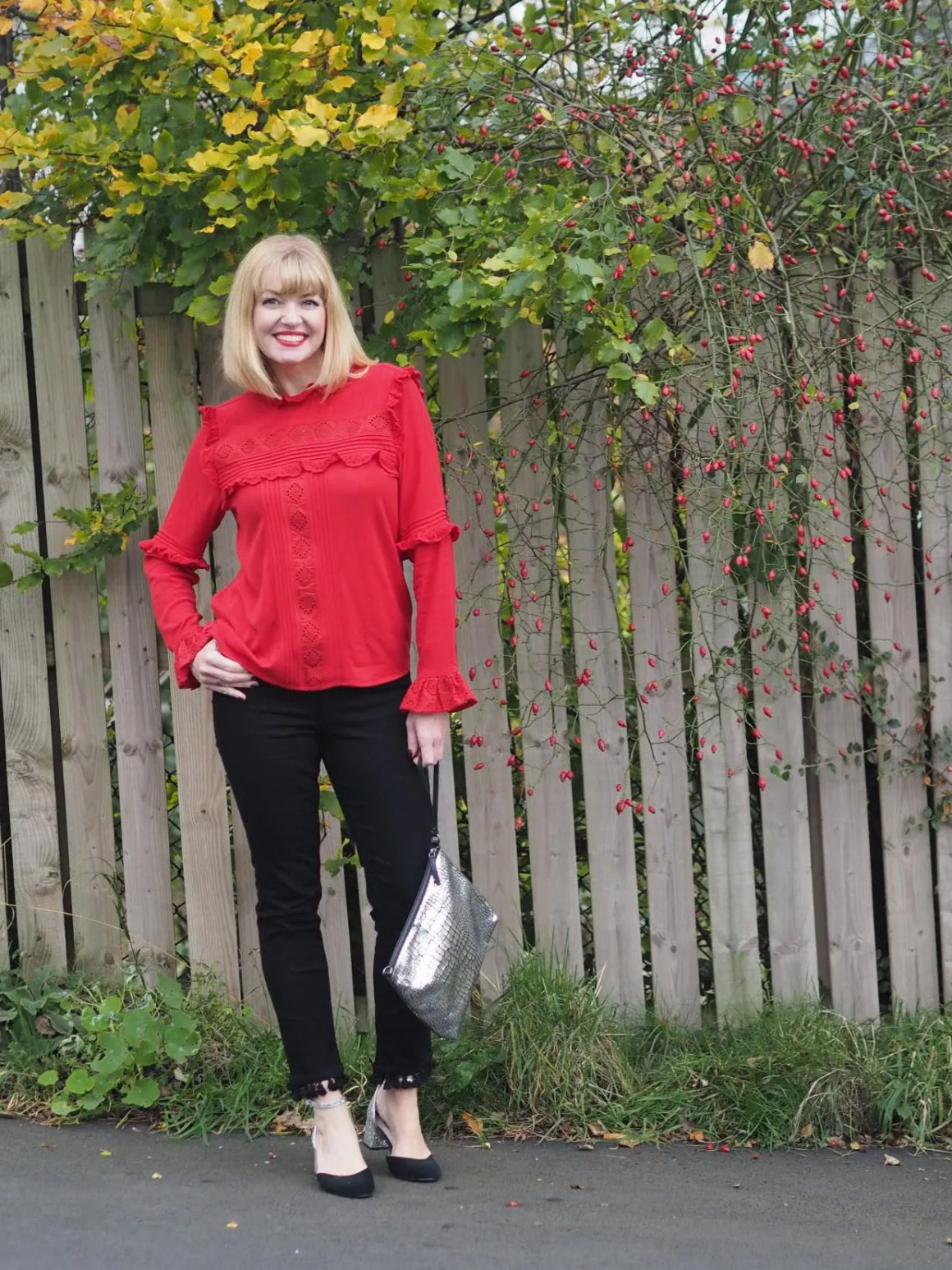 what lizzy loves black pom pom jeans red ruffle blouse