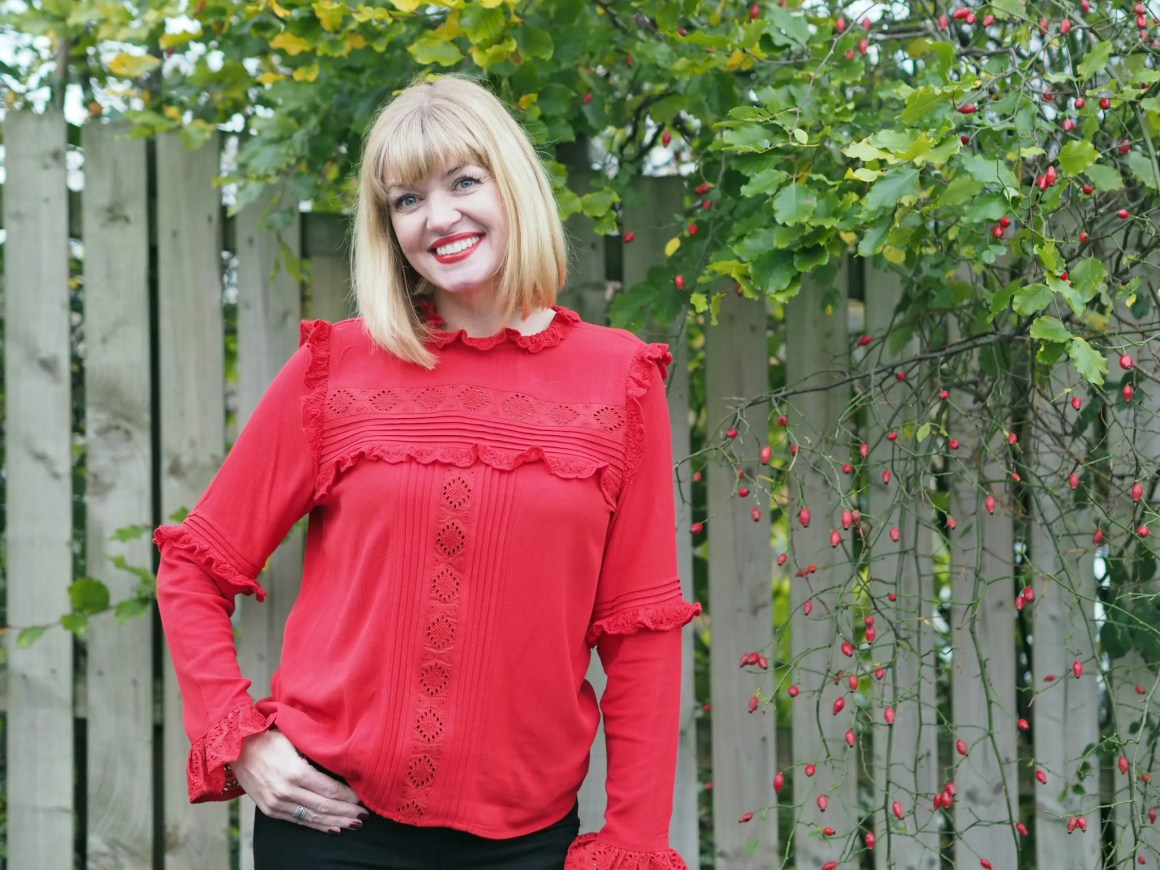 what lizzy loves red ruffle lace blouse