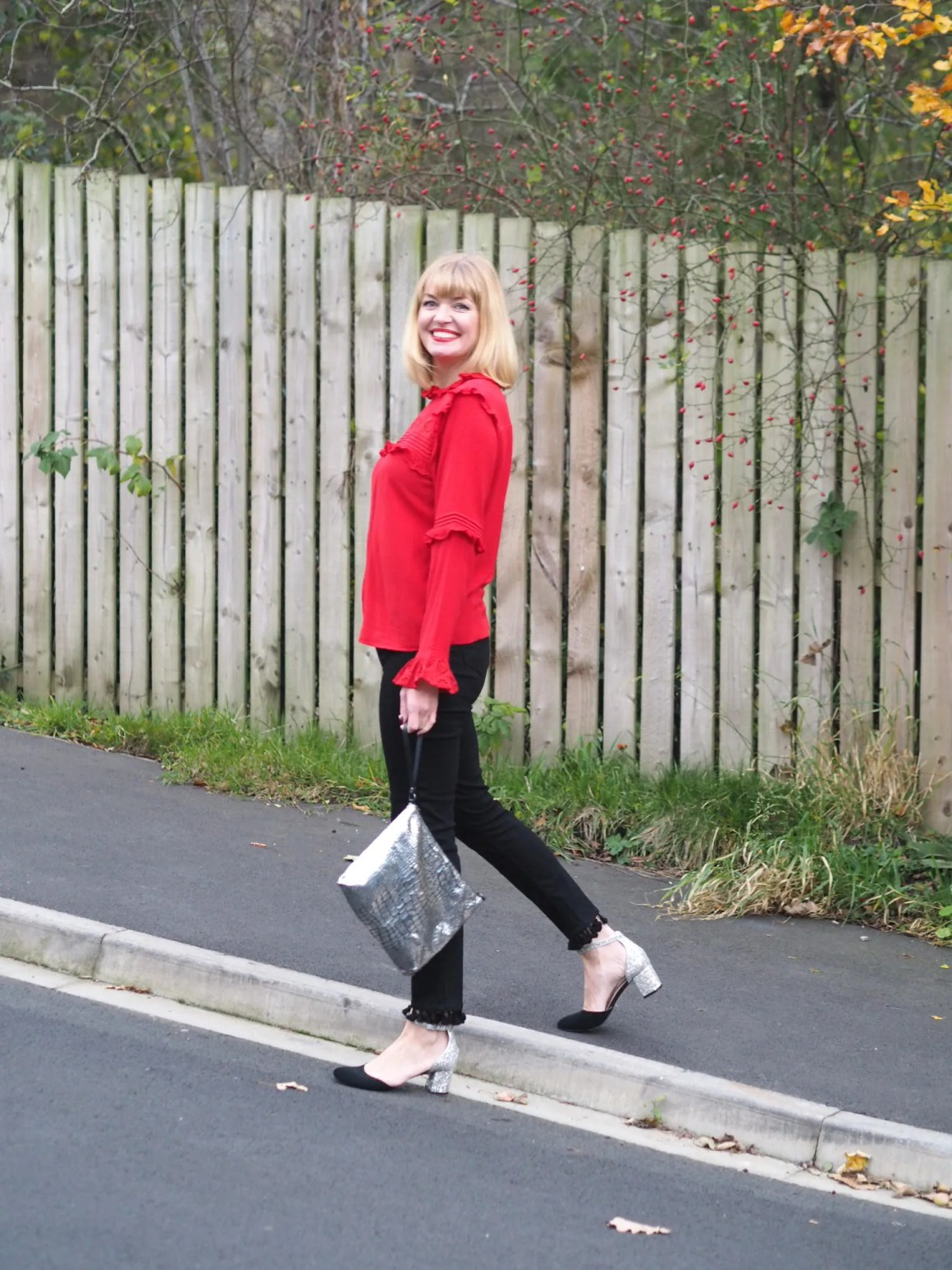 what lizzy loves black pom pom jeans red ruffle blouse glitter block heel shoes