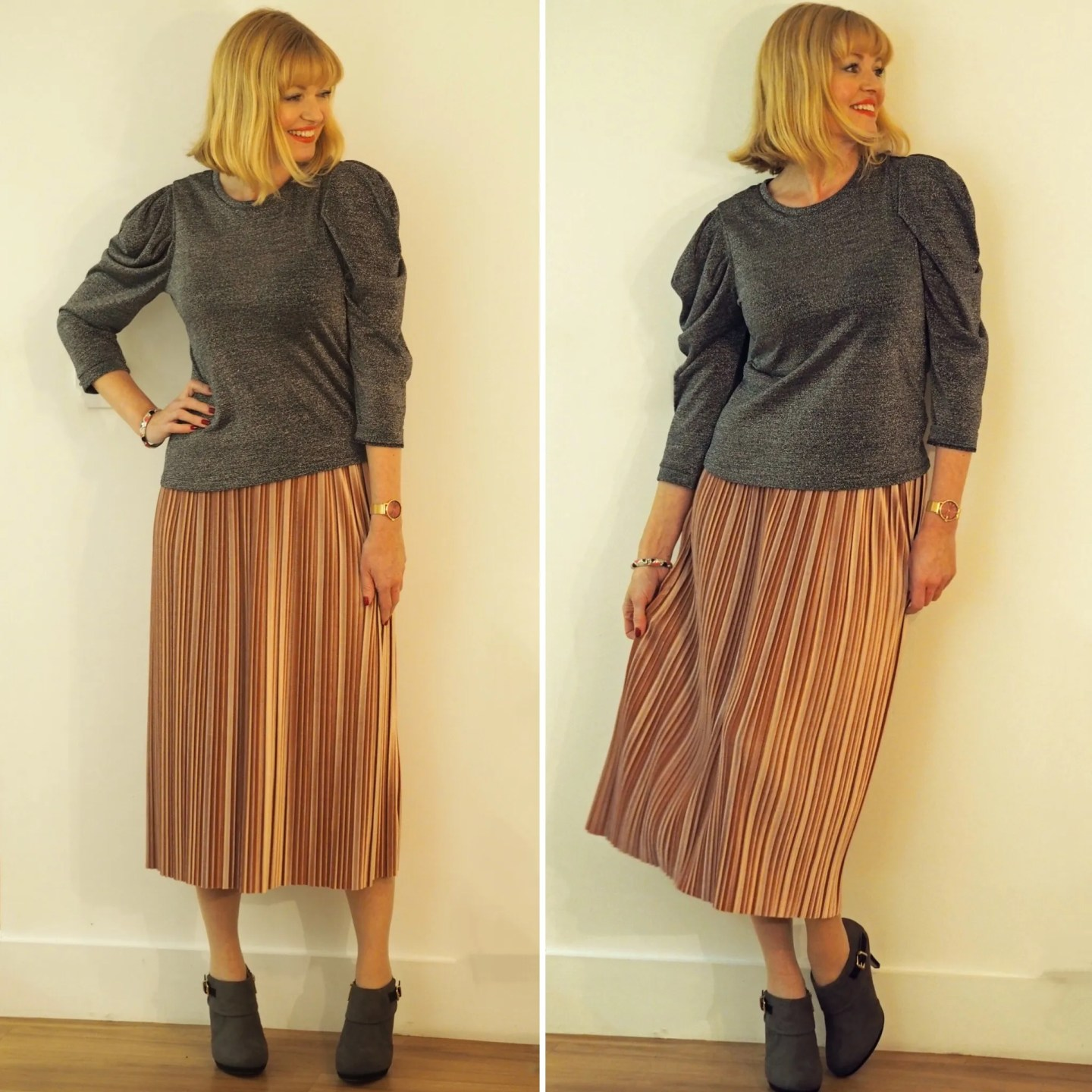 What Lizzy Loves pink velvet pleated skirt ankle boots
