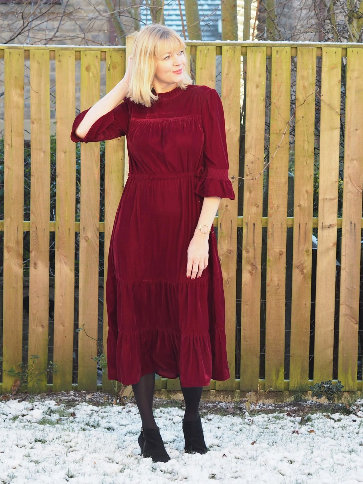 What Lizzy Loves M&S red velvet midi dress and black ankle boots