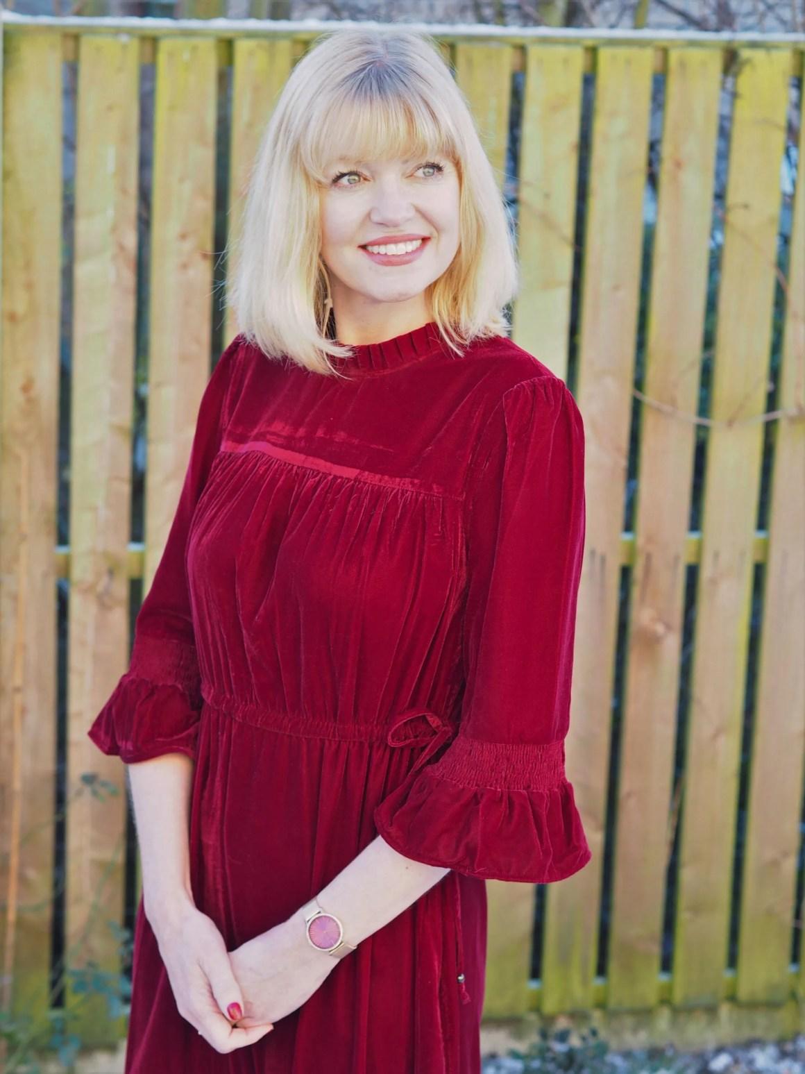 What Lizzy Loves red velvet midi dress sleeve detail