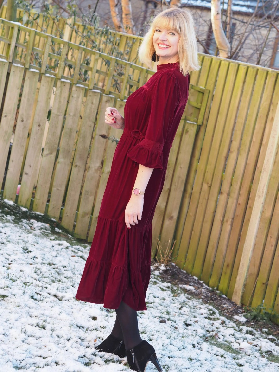 What Lizzy Loves red velvet midi dress and black ankle boots
