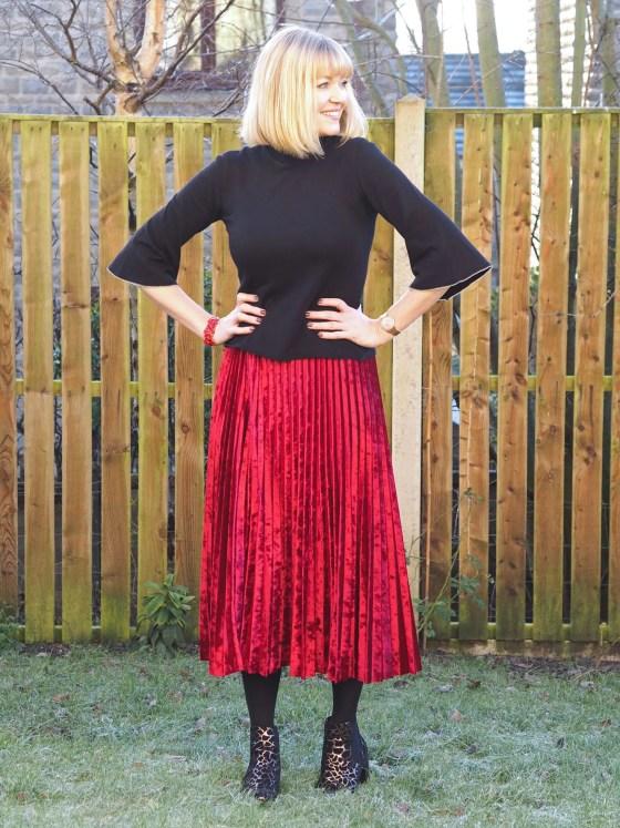 What Lizzy Loves red velvet pleated midi skirt with black top