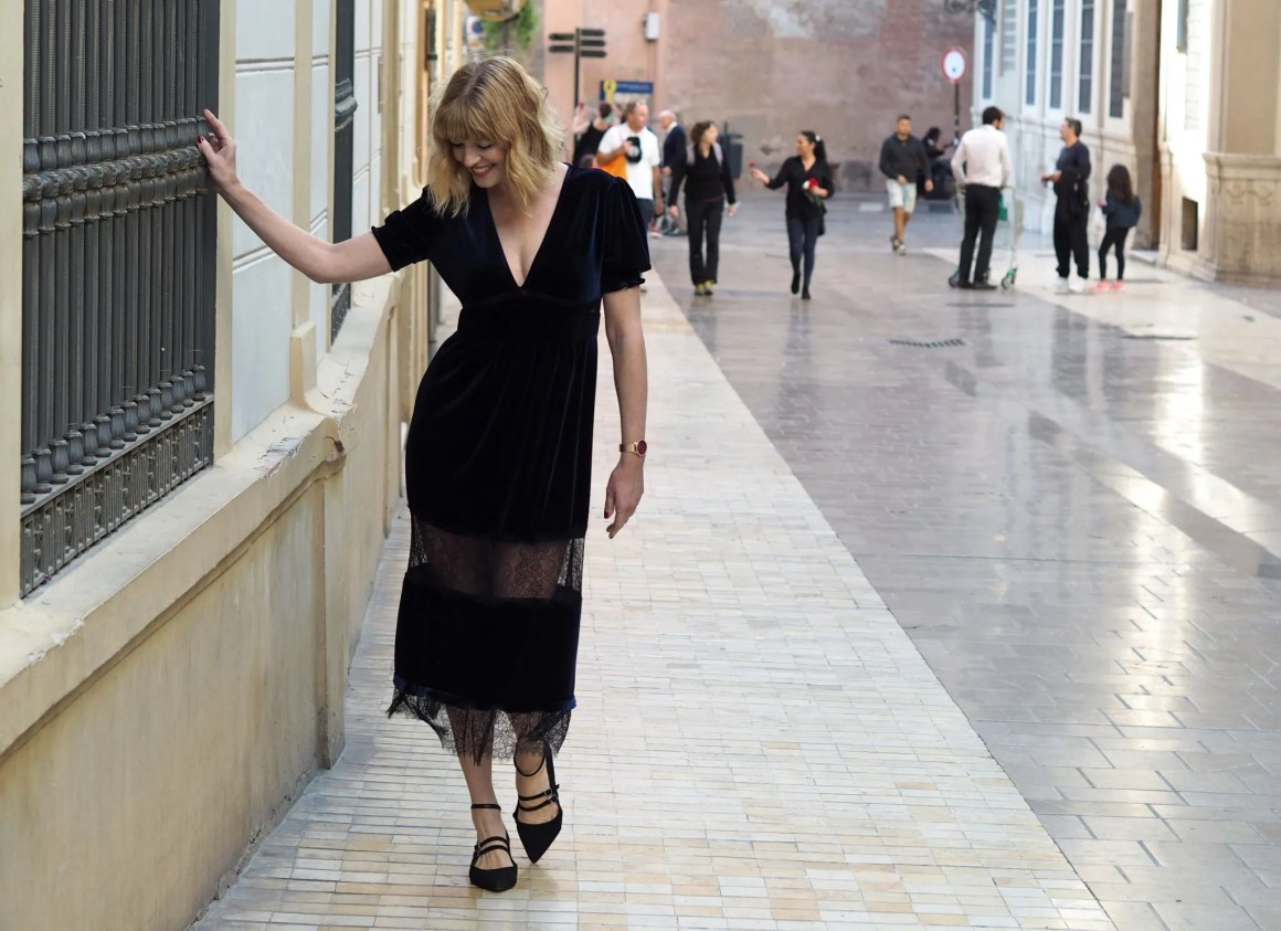 What Lizzy Loves navy velvet and lace panel dress