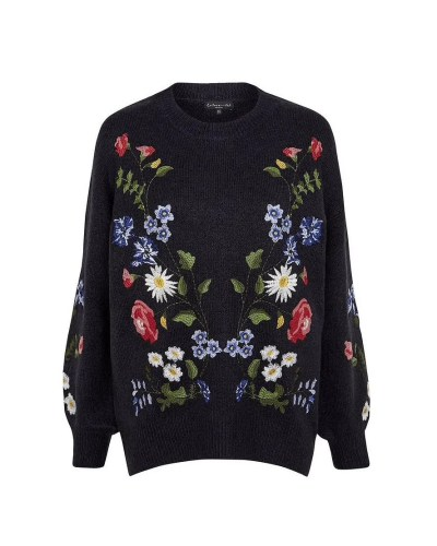Embroidered blouson sweater