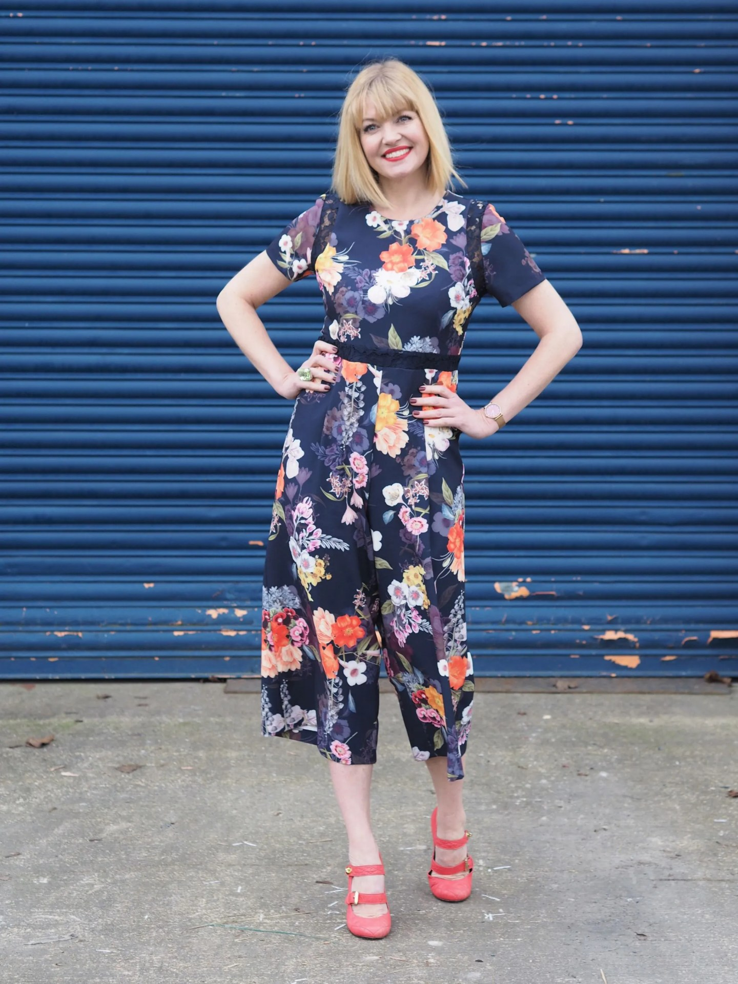 What Lizzy Loves spring trends bold colour floral jumpsuit orange shoes