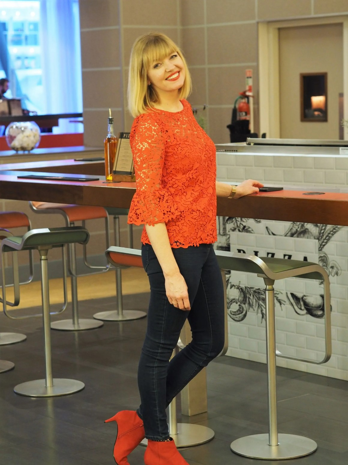 what-lizzy-loves-Boden-red-lace-top-jeans-boots