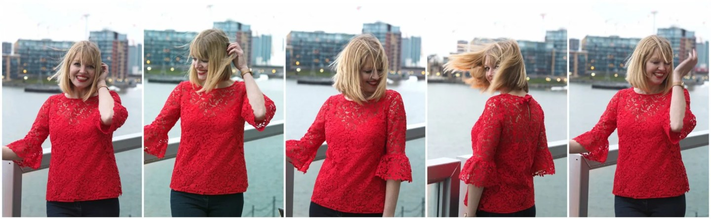 what-lizzy-loves-Boden-red-lace-top-jeans-windswep-hair