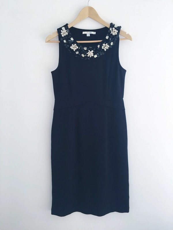 Boden black ponte shift dress beaded sequin embellished collar
