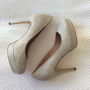 Next champagne sparkly glitter high heels shoes