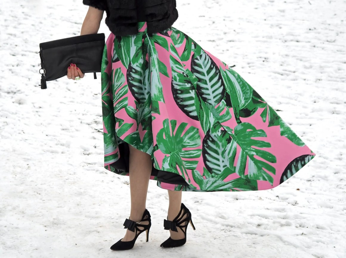 what lizzy loves green and pink party skirt black Boden bow shoes