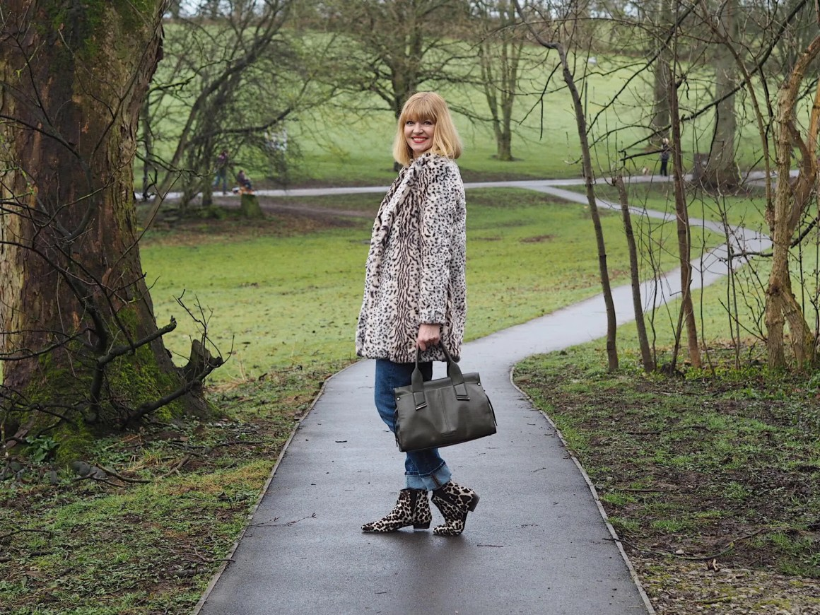 what lizzy loves leopard print coat and boots