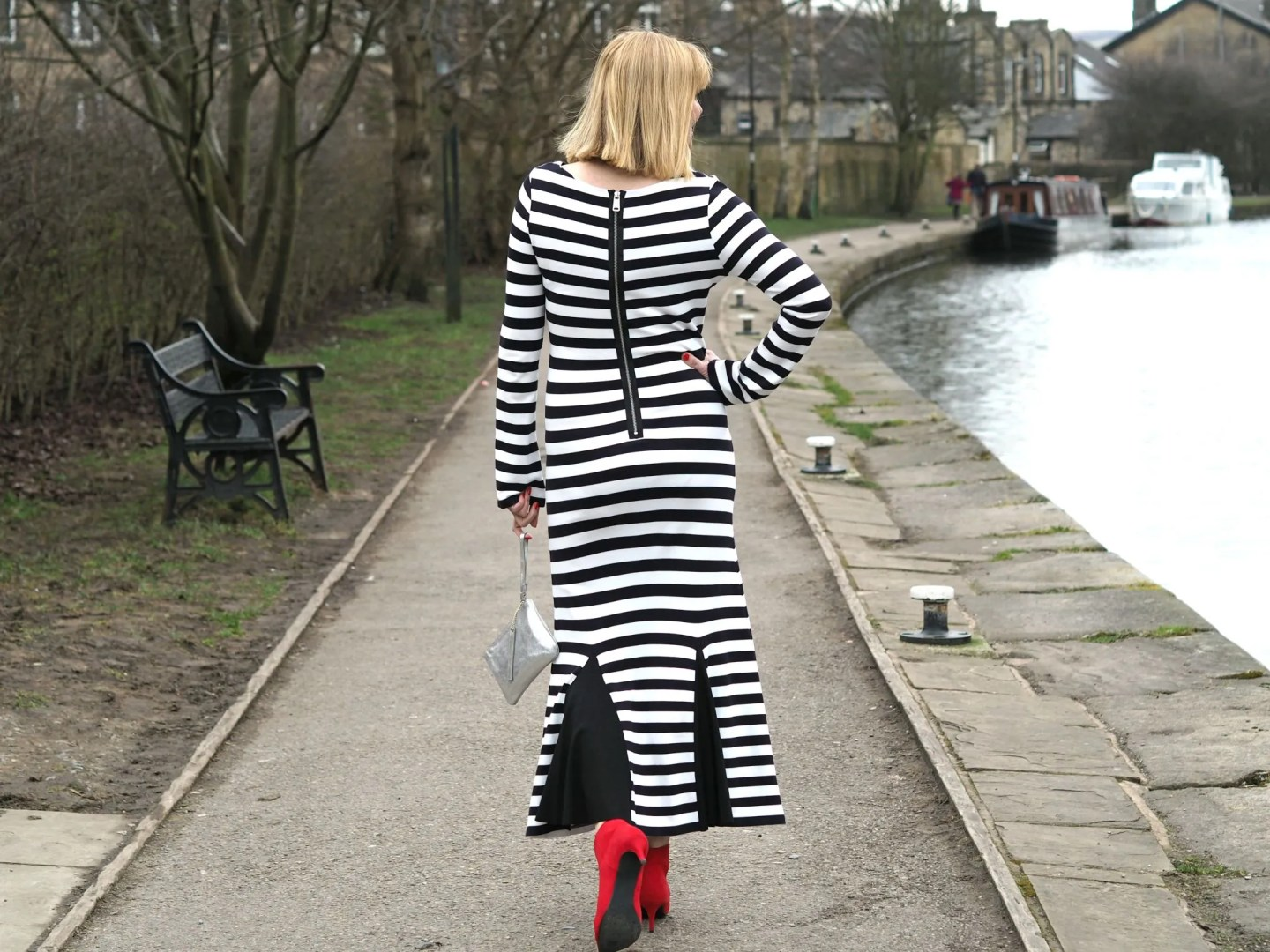 What Lizzy Loves black striped long dress red boots silver purse