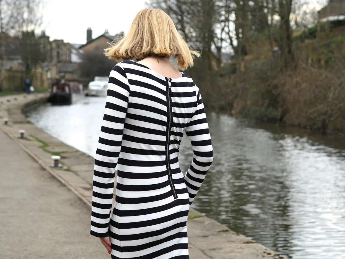 What Lizzy Loves black striped long dress back zip