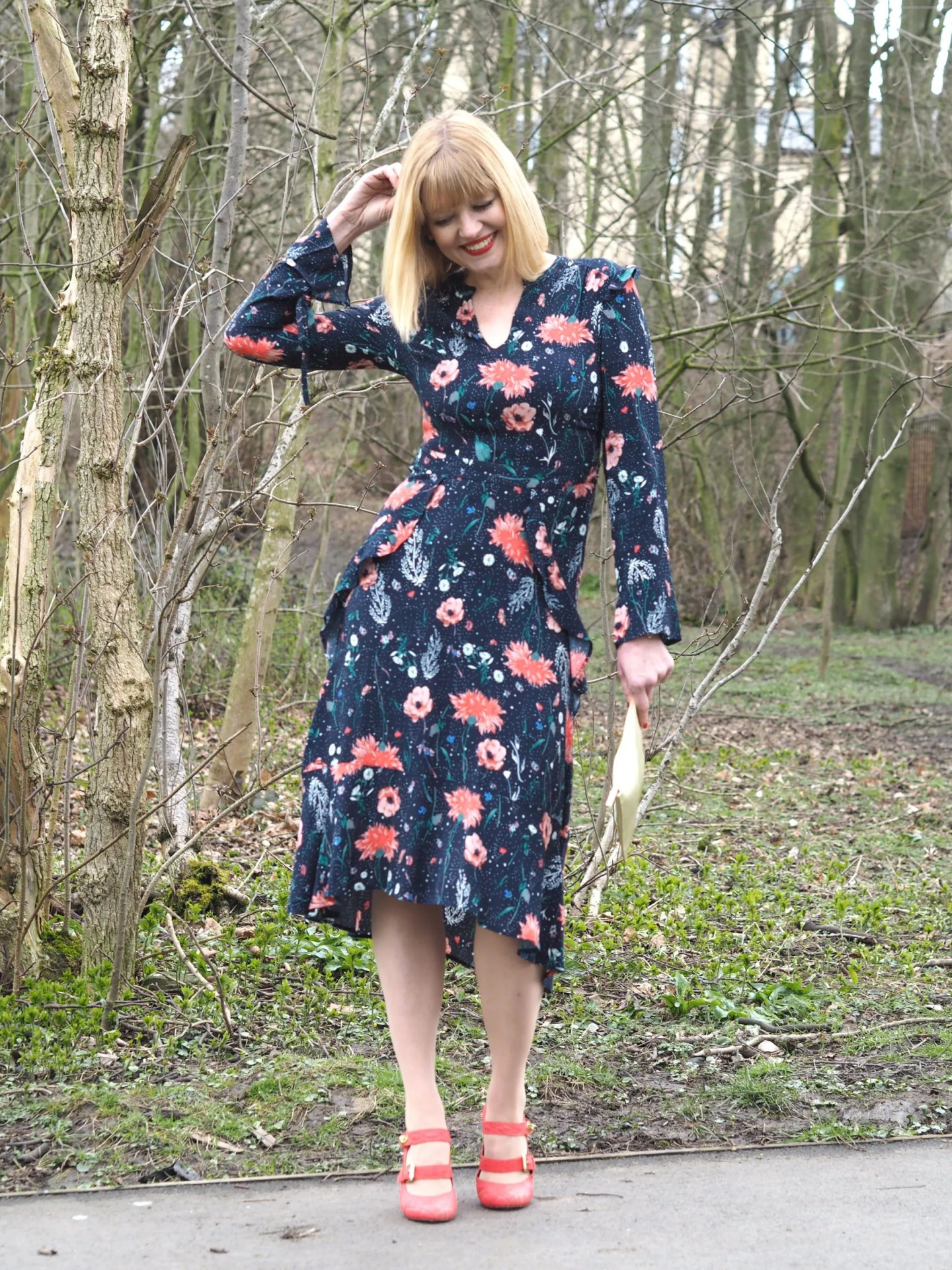 what-lizzy-loves-floral-midi-dress-orange-Mary-Janes