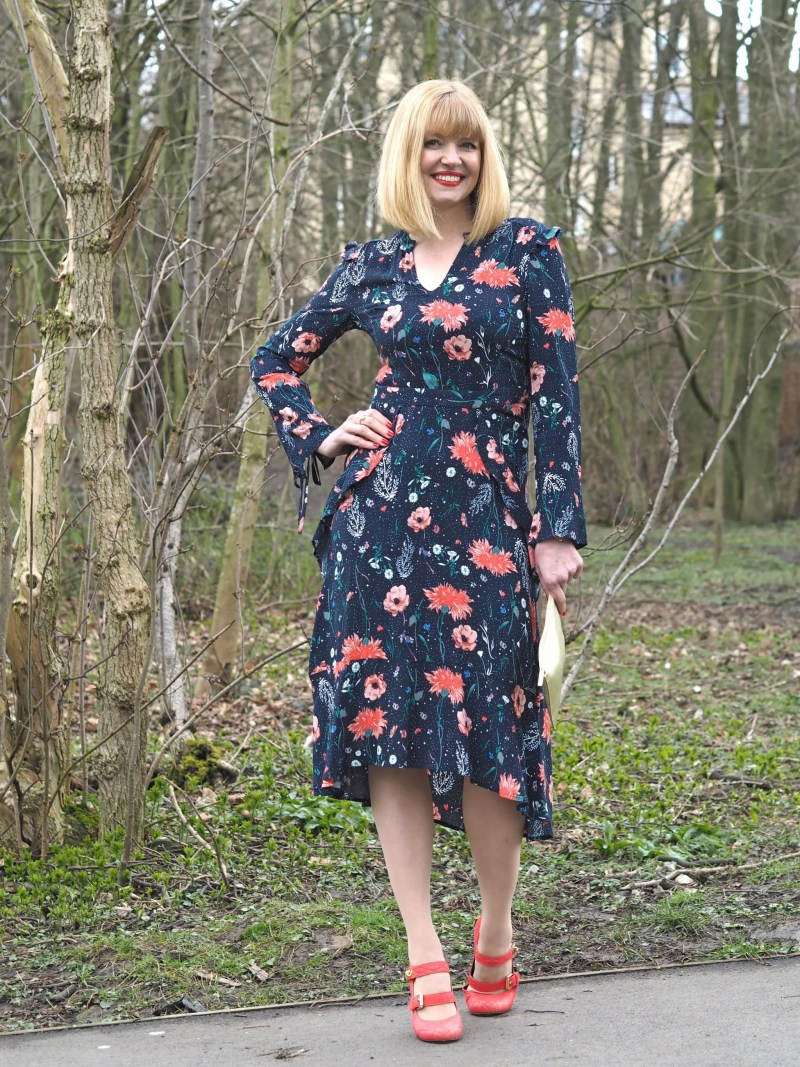Floral Midi Dress and Orange Shoes