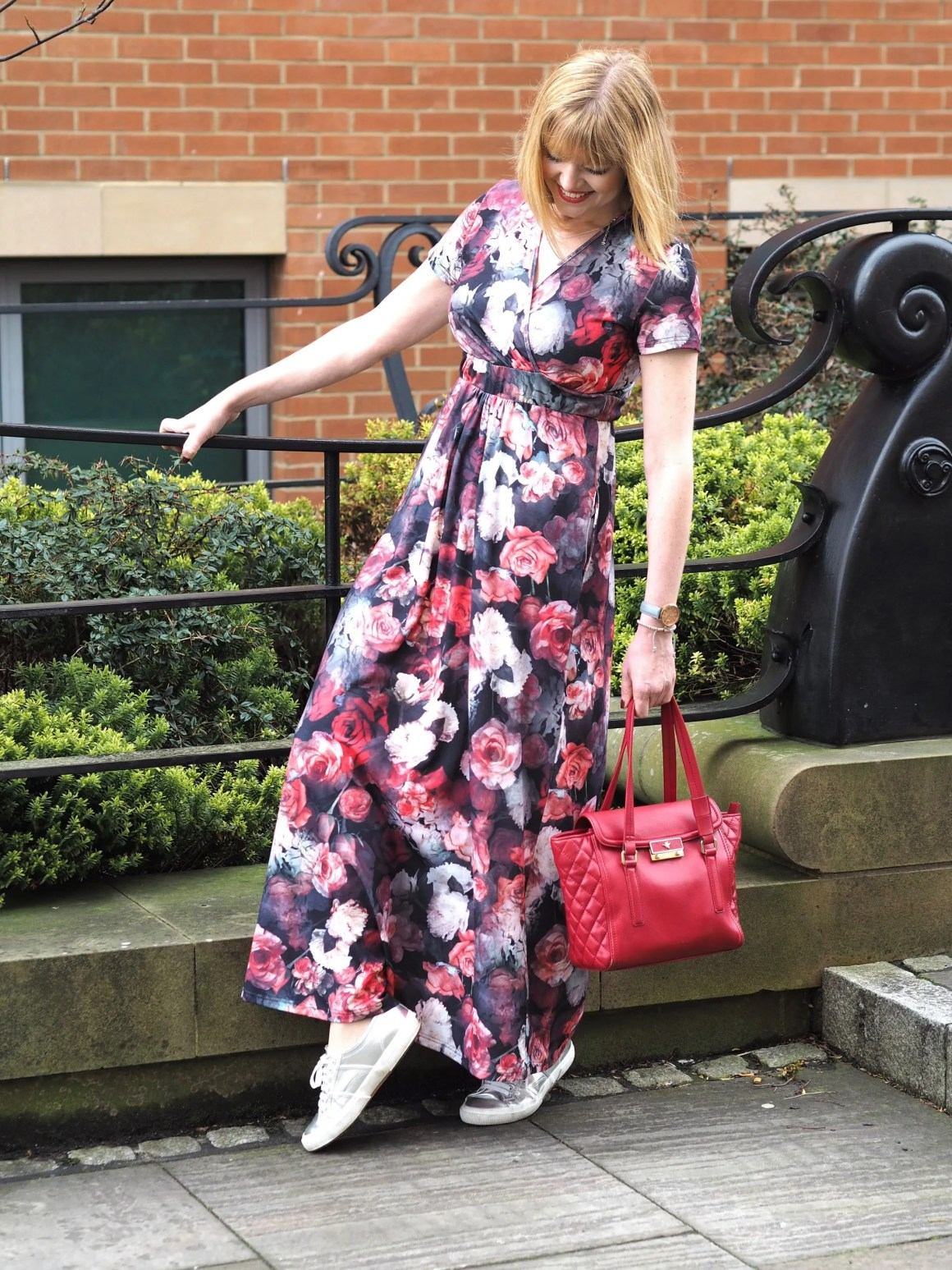 what Lizzy Loves Hotsquash floral maxi wrap dress