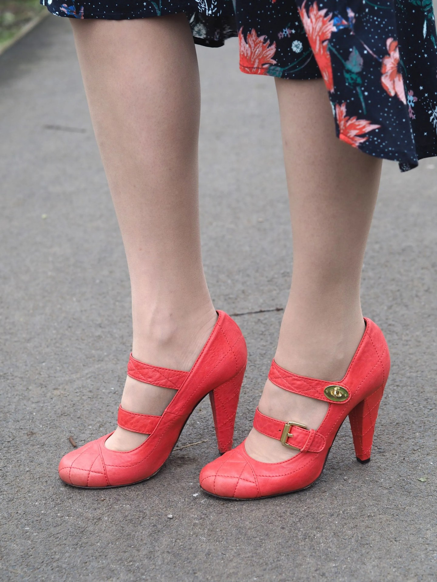 what Lizzy Loves orange Mulberry quilted shoes postmans lock