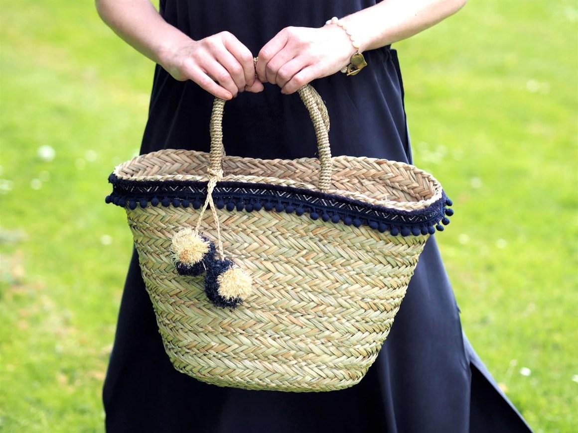 what Lizzy loves white company navy pom pom basket