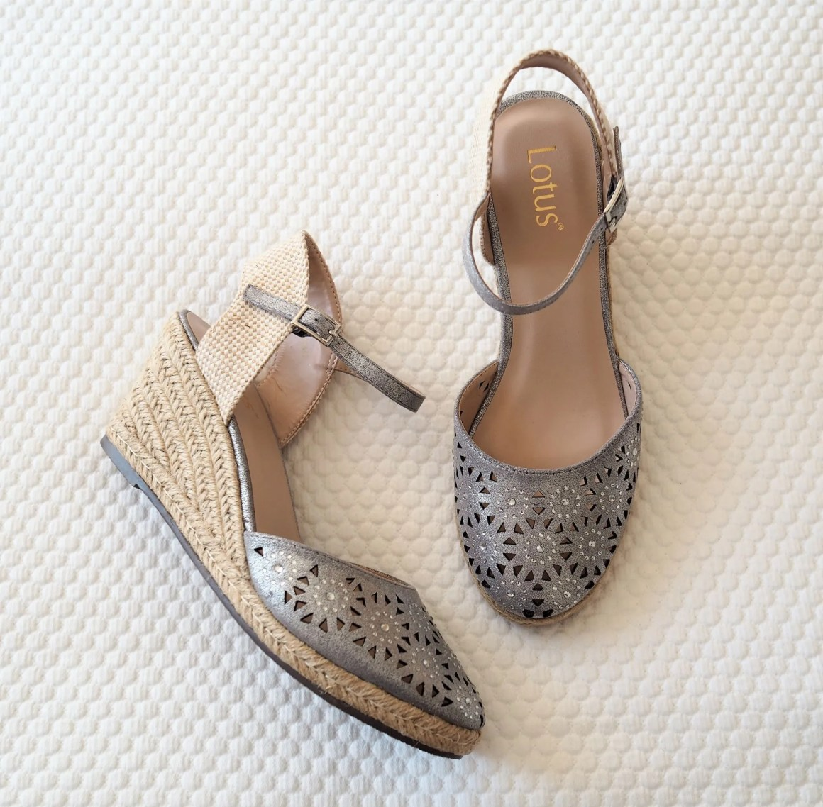 what lizzy loves neutral holiday wardrobe pewter sparkly espadrilles