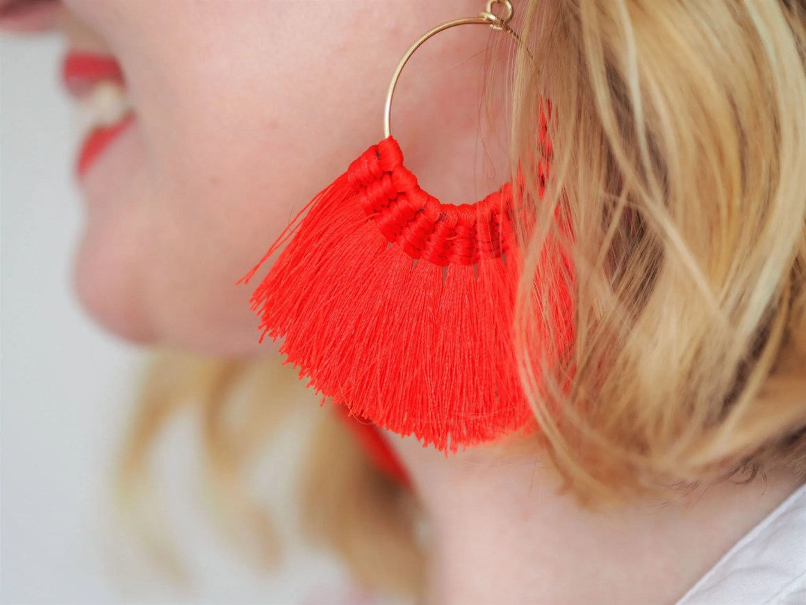 what lizzy loves red tassel earrings