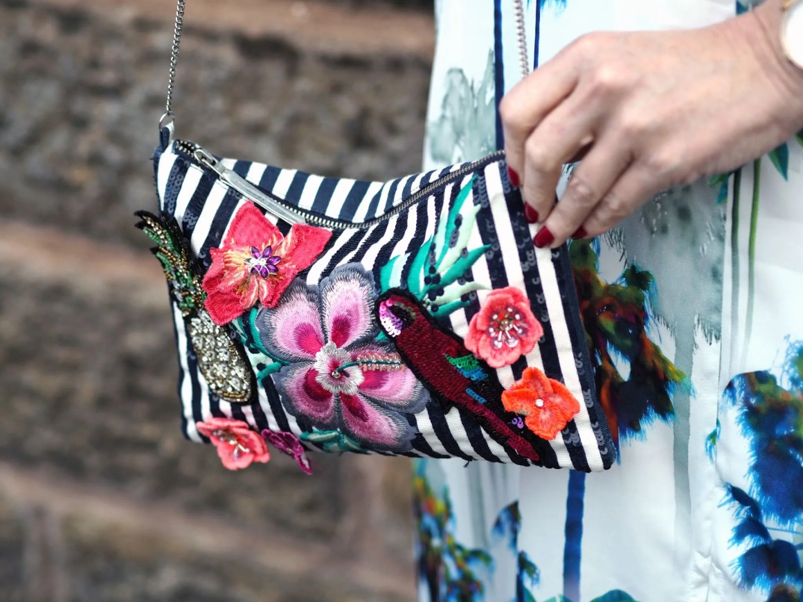 what lizzy loves tropical print embellished bag
