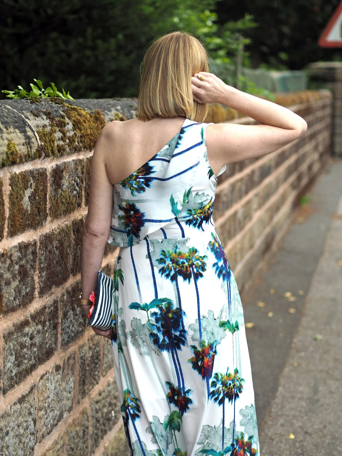 one shoulder palm print maxi dress