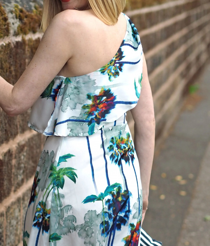 one shoulder palm print maxi dress