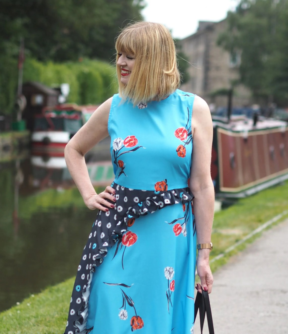 what lizzy loves Asos blue floral frill dress