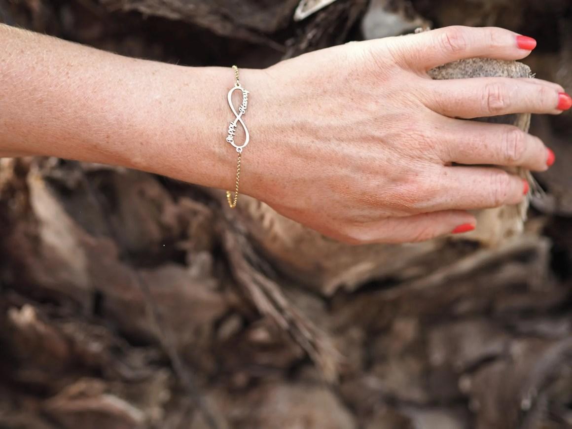 gold infinity name bracelet