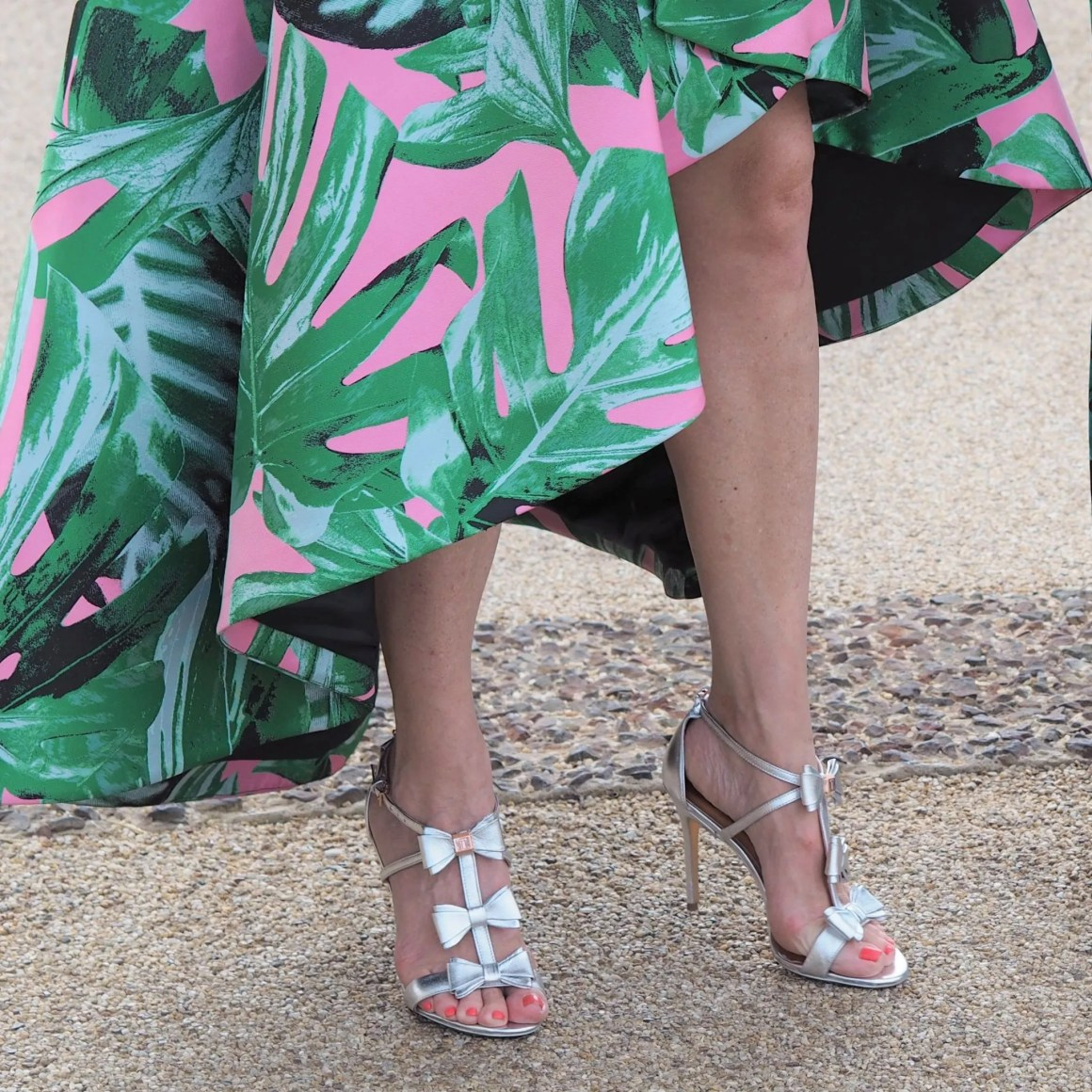 what Lizzy Loves Ted Baker silver and rose gold bow shoes