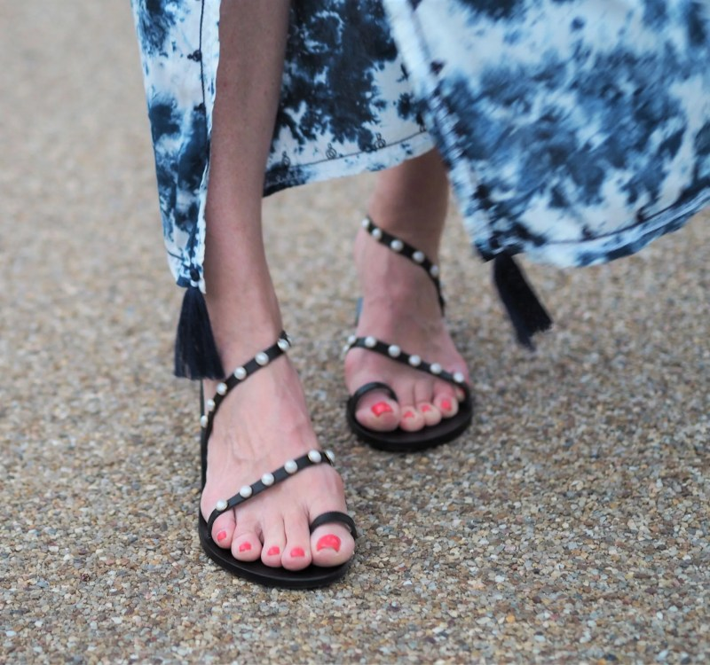 Ancient Greek black and pearl leather sandals