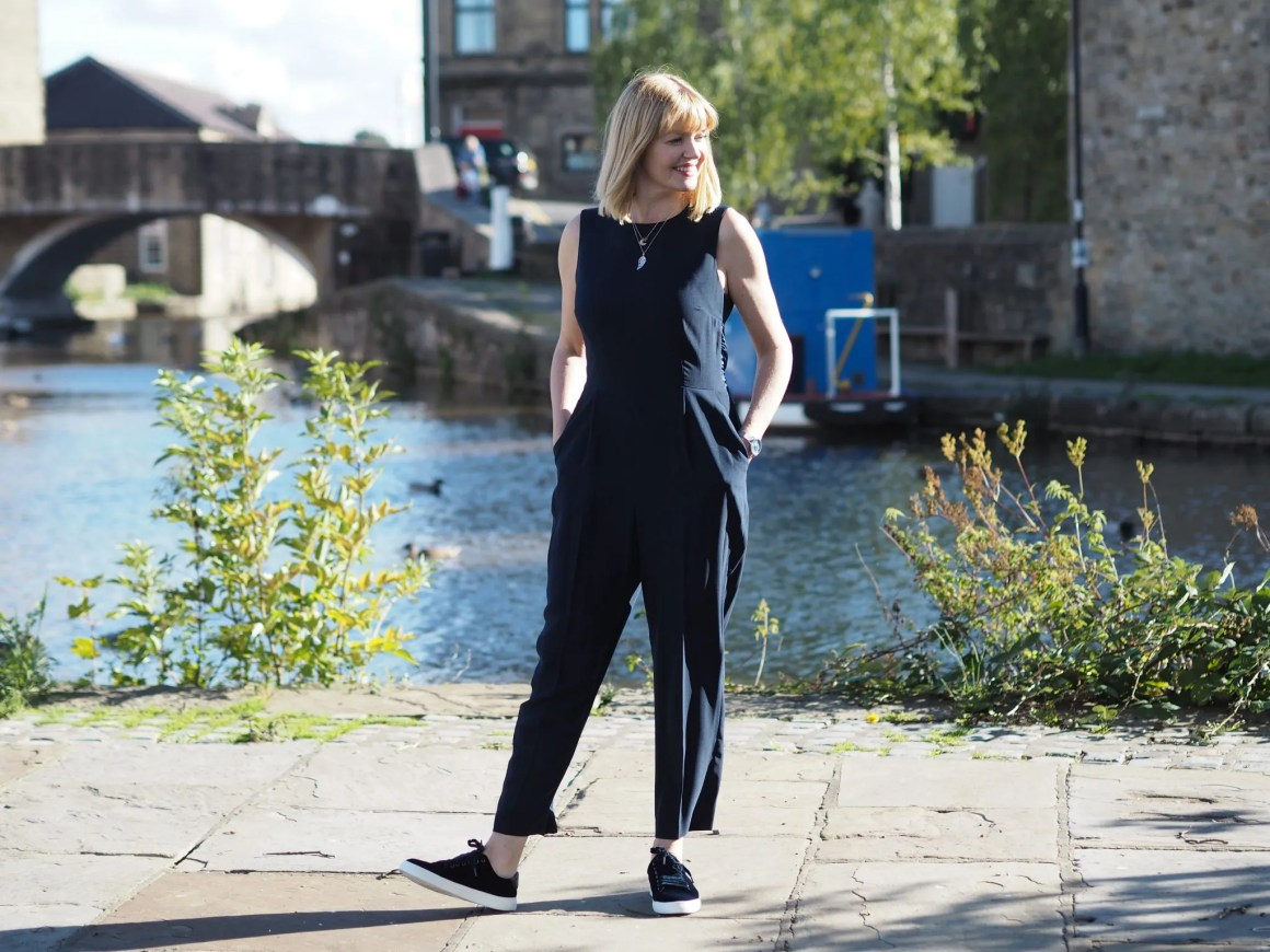 hobbs cropped navy jumpsuit with navy velvet trainers