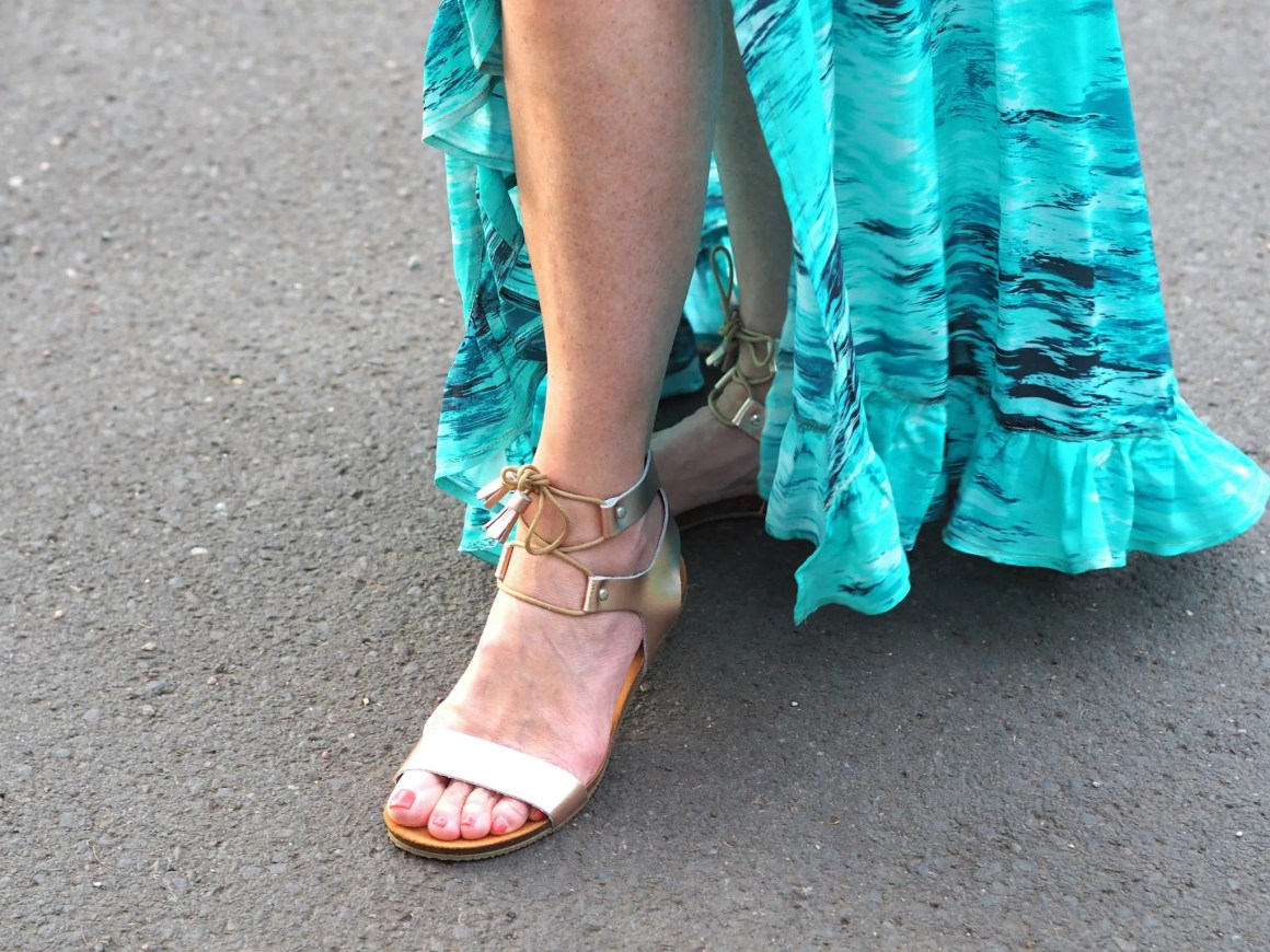 Daisy roots rose gold tie sandals