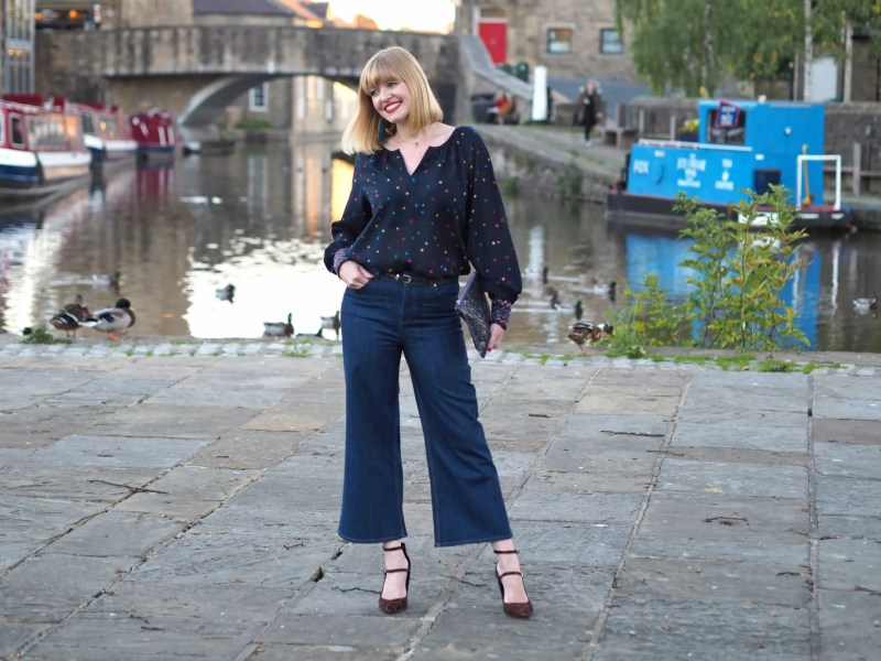 What Lizzy Loves multi-coloured star top cropped wide leg flared jeans leopard shoes