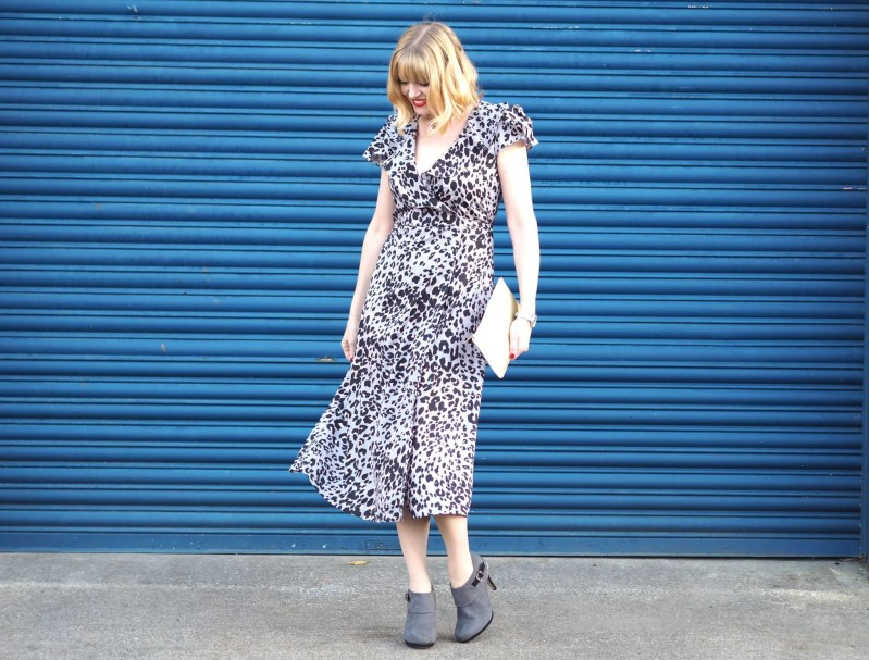 lily and lionel grey leopard wrap dress gold bag