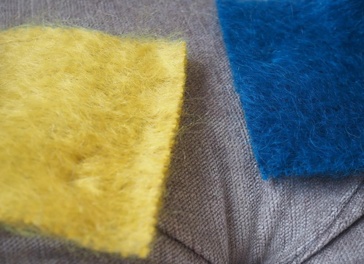 mustard and mallard mohair fabric samples