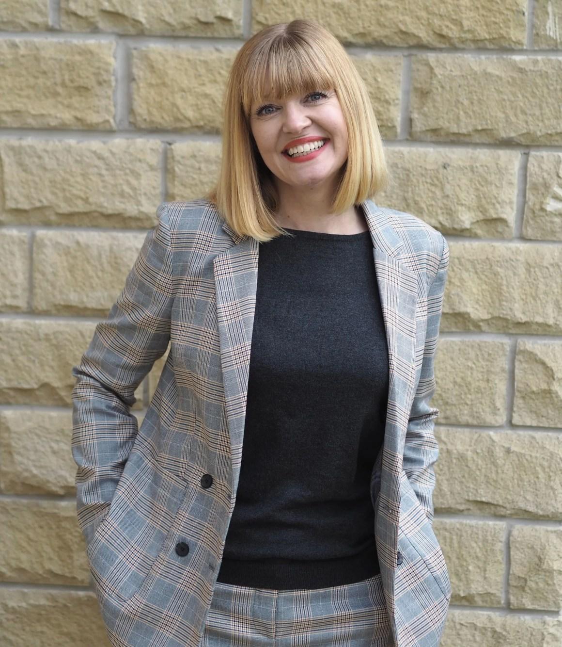 Work outfits checked trouser suit