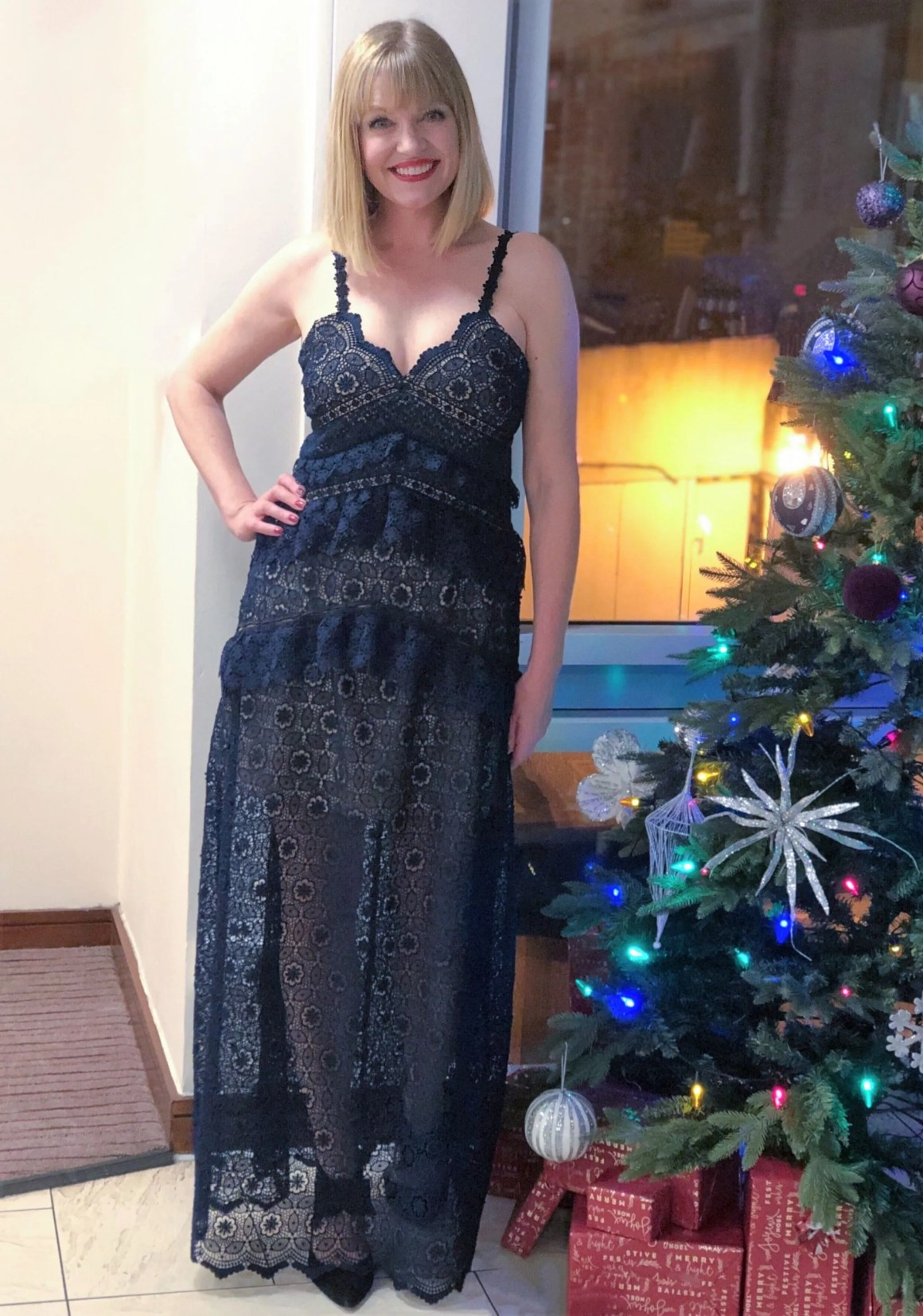 What Lizzy Loves navy guipure lace Self-portrait dress