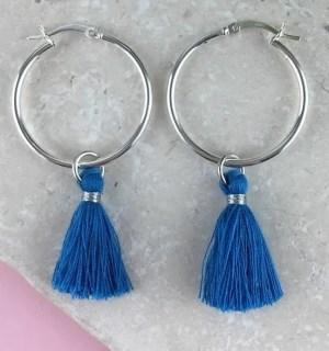 Sterling Silver Tassel Earrings, Blue