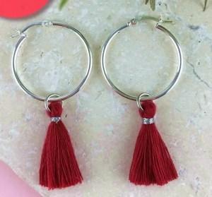 Sterling Silver Tassel Earrings, Red