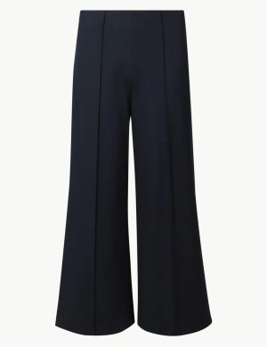 Navy Wide Leg Ponte Trousers